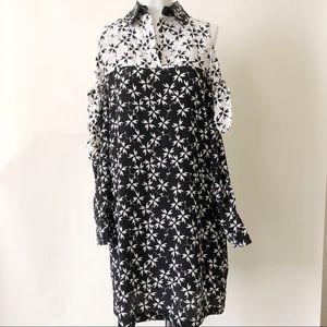 Tanya Taylor Black Floral Cold shoulder dress